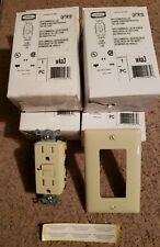 Hubbell 15a 120v Ivory GFCI's includes wallplates.  NIB (Lot of 4)