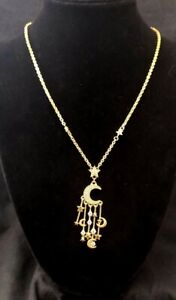 Judith Ripka Gold-Clad SS Diamonique Moon & Stars Dangle Necklace NWT Beautiful!