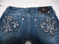 MISS ME Denim Women's Rhinestone Embellished Mid Rise Boot Cut Jeans Size 25