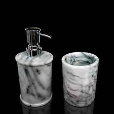 Ensemble Verre et Porte-savon de salle bain Marbre Blanc Glass Soap Plat