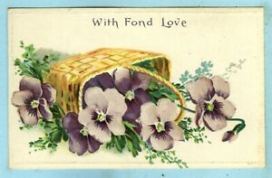 """Embossed, """"With Fond Love"""", a Spilled Basket Full of Purple Pansies...."""