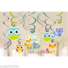 BABY SHOWER Woodland Welcome HANGING SWIRL DECORATIONS (12) ~ Party Supplies