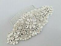 Wedding Hair Comb, Bridal Hair Accessories, SILVER CLEAR CRYSTAL PEARL HAIR COMB