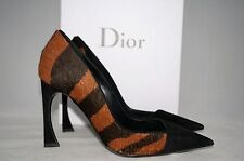 CHRISTIAN DIOR Songe 100mm Black Tiger Pony Hair Point-Toe Curve Heel 6 US 36 EU