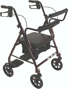 Burgundy Rollator Walker Transforms Into Transport Chair, 2 in 1, Footrests Incl