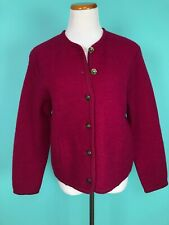 Vintage Tally-Ho Dark Pink Boiled Wool Cardigan Sweater Size Small