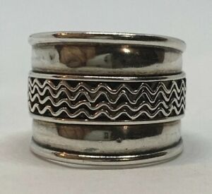 Wide Band 925 Sterling Silver Waves  Ring Size 5.5 Handmade Thailand