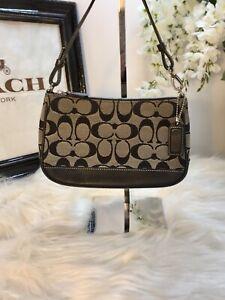 Coach Signature Leather Canvas Small Purse Bag Logo Black Handbag 6094 Clutch CC