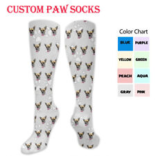 Custom Personalized Photo Face Socks Multiple Faces Cat Dog Track Paws Tube Sock