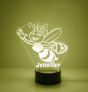 Queen Bee, Personalized Night Light Lamp, 16 Colors LED, Desk Lamp Bedroom Decor