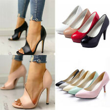Womens PU Leather Round Peep Toe Stiletto High Heels Pumps Platform Party Shoes