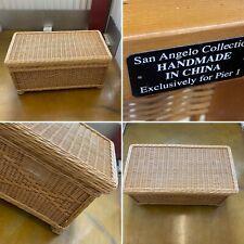 🌟VINTAGE PIER 1 WICKER BLANKET CHEST OTTOMAN STORAGE TOY BOX SEAT BOHO DECOR