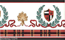French Fleur De Lis Ribbon Crest Leaf Red Black Check Plaid Wall paper Border