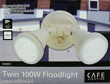 Diecast Aluminium 2 x 100W Dual Outdoor Halogen Floodlights - Cream / Beige