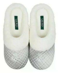Lauren Ralph Lauren Cotton Brushed Twill Soft Fleece Lining Slippers GreyPlaid S
