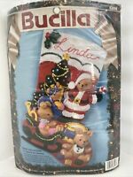 "Bucilla Christmas Felt 18"" Stocking Kit Teddy #83008 Sled Toys New Open Package"