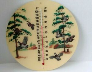 Vintage Bacova Guild Original Fiberglass Wooded Quail Picture Wall Thermometer