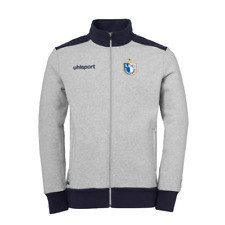 1. FC Magdeburg FCM Uhlsport Jacke Freizeit Sweatjacke grau-dunkelblau Fanartike