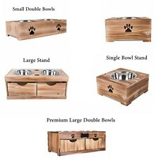 Dog Food Feeding Stand Station Stainless Double Raised  Bowls Wooden Crate