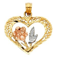 Heart with Circle Hole Design Flower Leafs Pendant Charm 14k Tri Tone Solid Gold