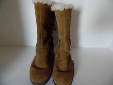 WHITE MOUNTAIN LADIES SIZE 7M MID-CALF BROWN SUEDE FAUX FUR BOOTS