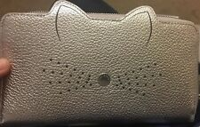 8378265c32f612 Bnwt Genuine Ted Baker Serini Silver Grey Leather Purse Cats Whiskers Zip  Around