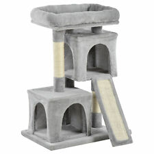 PawHut Cat Rest & Play Activity Tree W/ 2 House Perch Scratching Post Light Grey