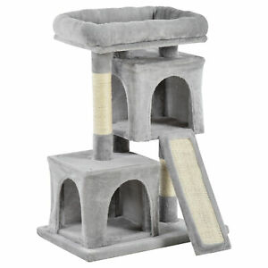 PawHut Cat Rest & Play Activity Tree w/ 2 House Perch Scratching Post Light Grey