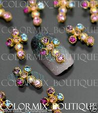 #CA048  3D Nail Art Decoration  Alloy Jewelry Colorful CROSS Glitter Rhinestones