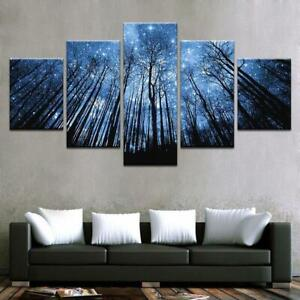 Forest Of Stars Night 5 Piece Canvas Wall Art Poster Print Home Decor