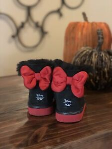 AUTHENTIC UGG DISNEY MINNIE MOUSE SWEETIE BOW BLACK SUEDE BOOTS SIZE 11