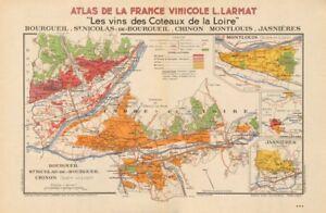 LOIRE VINEYARD MAP St Nicholas Bourgueil Chinon Montlouis Jasnières. LARMAT 1946