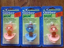 Vtg 3pk NOS 1992 Gerber NUK Pacifier-Exerciser NIP Orthodontic 0-6 months