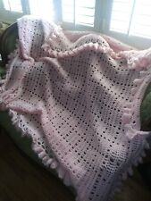 """Large Handmade Sofa/ Bed Throw Baby Pink Frilled Edges Beautiful 74 x 78"""""""