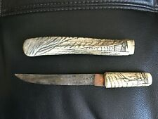 Antique 19th c. Engraved Bone Japanese Tanto Knife