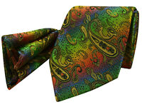 Peacock Gold Tie NEW Paisley Green Blue Red Yellow Silk Necktie FREE Hanky pr22
