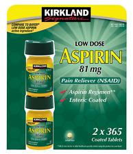 Kirkland Signature Low Dose Aspirin, 2 bottle - 730 Count Enteric Coated 81mg