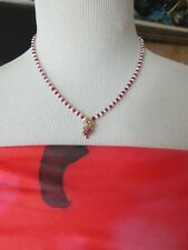 Solid 14K Yellow Gold Real Ruby Diamond Enhancer Pendant Pearl Beaded Necklace