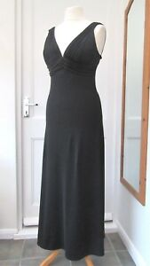 GINA BACCONI LONG BLACK EVENING DRESS SIZE 12 CRUISE BALL BRAND NEW 50% OFF