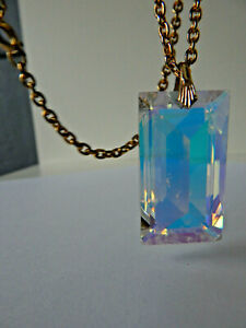 Vintage Large Faceted Glass Crystal Pendant Necklace