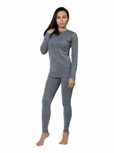 Womens Grey Merino Wool Base layer Top Leggings set
