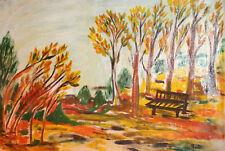 European art naive oil painting landscape signed
