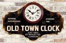 Orologio Da Parete Legno Nero Con Scritta Old Town Clock Vintage