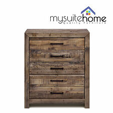 Boston Solid Recycled Pine Timber Chest of Drawers Tallboy Storage Unit Cabinet
