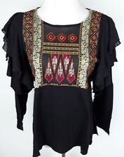 Free People Womens Size S Black Embroidered Ruffle Long Sleeve Knit Top New