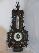 Ancien baromètre thermometre  en bois sculpté foret noire décor chasse venerie