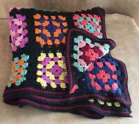 "Granny Square blanket 53 x 39"" Lap afghan crochet handmade black blanket throw"