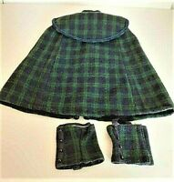 American Girl Doll Samantha's Green Blue Plaid Cape and Gaiters -Retired- EUC