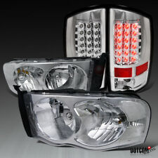 2002-2005 RAM 1500 2500 3500 Pickup Chrome Headlights+Clear LED Tail Brake Lamps