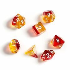 Sirius Yellow Red 7 Dice Set + Smoke d20 D&D dungeons dragons orange multi rpg